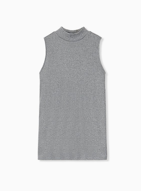 Plus Size Grey Rib Hacci Mock Neck Tank, , hi-res