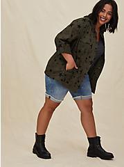 Olive Green & Black Star Twill Anorak, , alternate