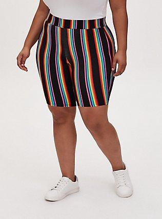 Celebrate Love Black & Rainbow Stripe Bike Short, MULTI, alternate