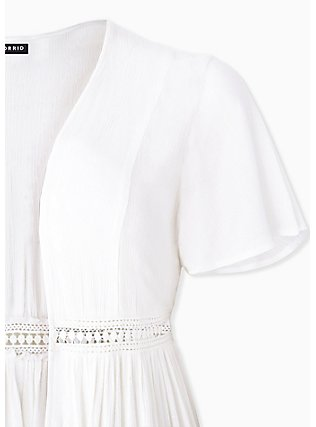 White Crinkled Gauze Crochet Inset Duster Kimono, CLOUD DANCER, alternate