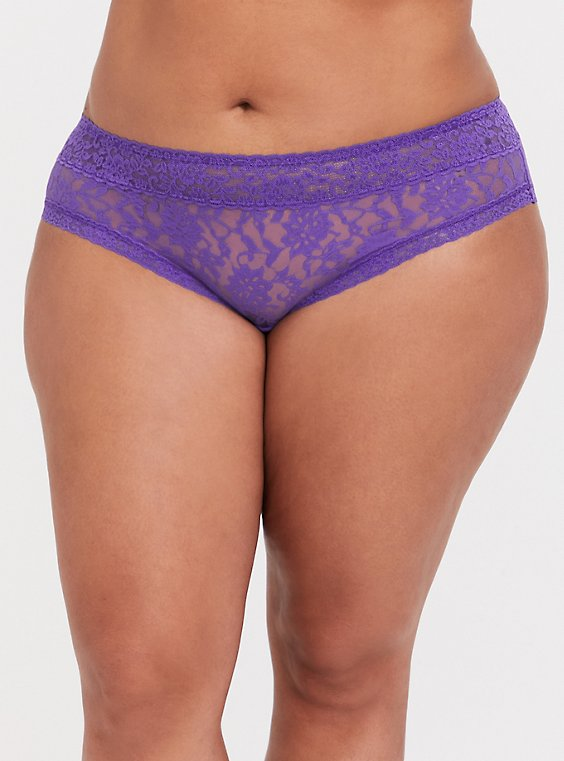 Plus Size Purple Lacey Hipster Panty, , hi-res
