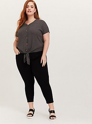 Charcoal Grey Waffle Knit Button Tie Front Midi Tee, HEATHER GREY, alternate