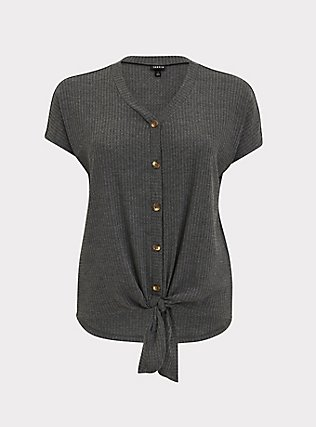 Charcoal Grey Waffle Knit Button Tie Front Midi Tee, HEATHER GREY, flat