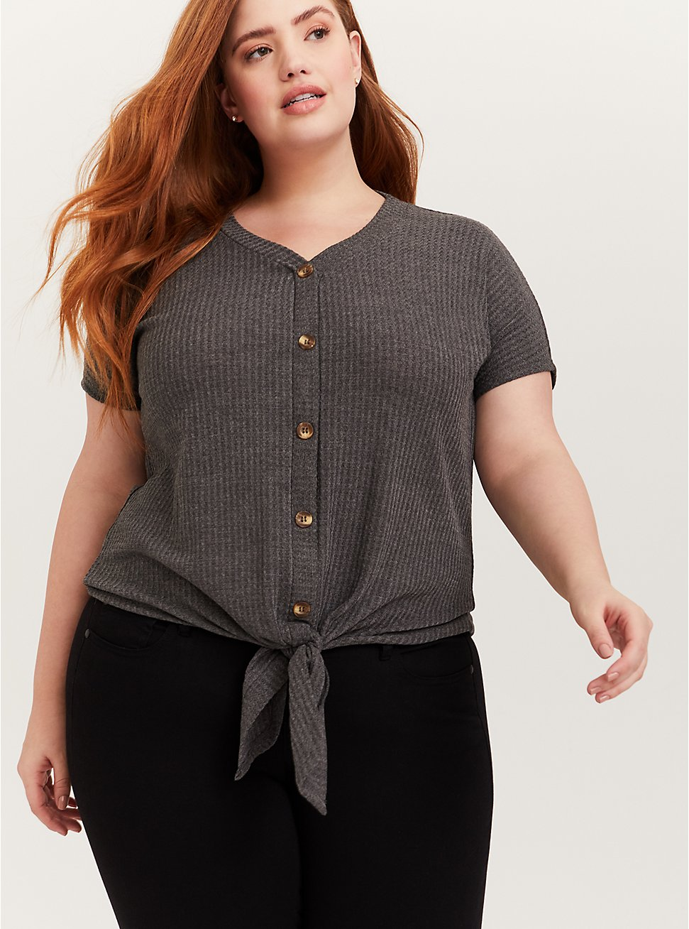 Charcoal Grey Waffle Knit Button Tie Front Midi Tee, HEATHER GREY, hi-res