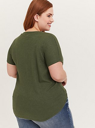 Olive Gren Waffle Knit Tie Front Midi Tee, DEEP DEPTHS, alternate