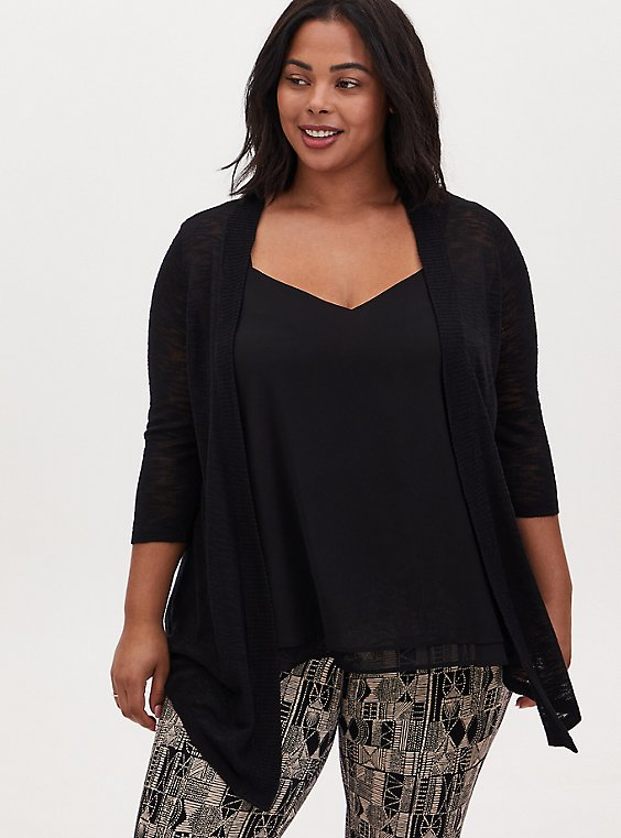 Black Slub Open Front Cardigan, , hi-res