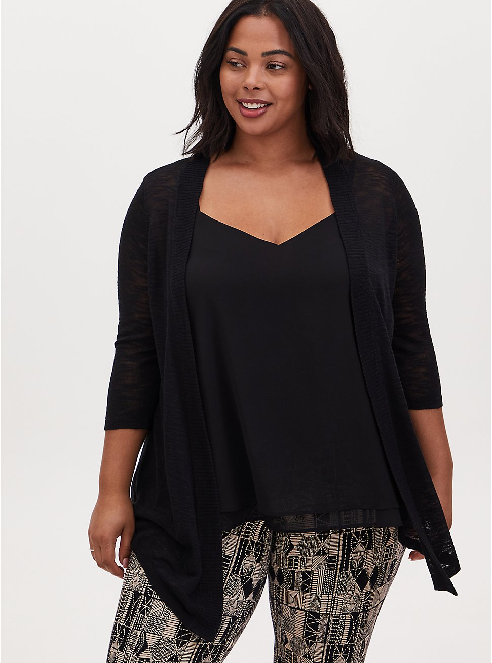 Black Slub Open Front Cardigan, DEEP BLACK, hi-res