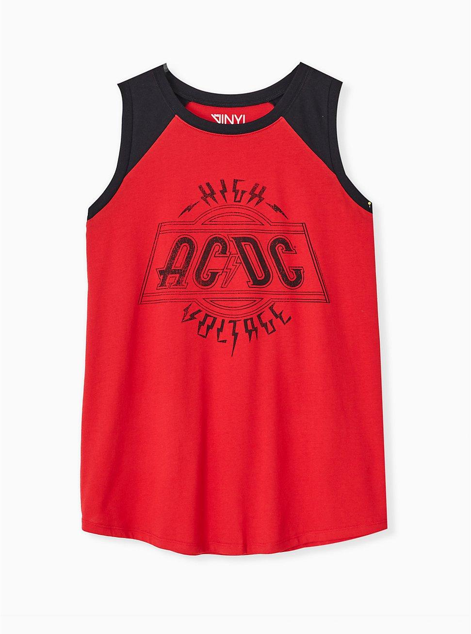 AC/DC High Voltage Red Raglan Tank, JESTER RED, hi-res