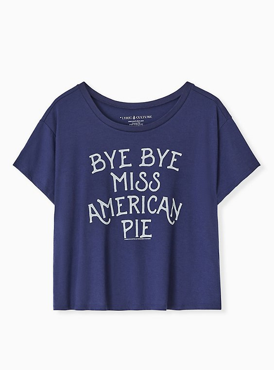 Plus Size Bye Bye Miss American Pie Navy Crop Crew Tee, , hi-res