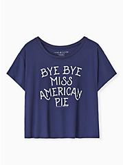 Bye Bye Miss American Pie Navy Crop Crew Tee, PEACOAT, hi-res