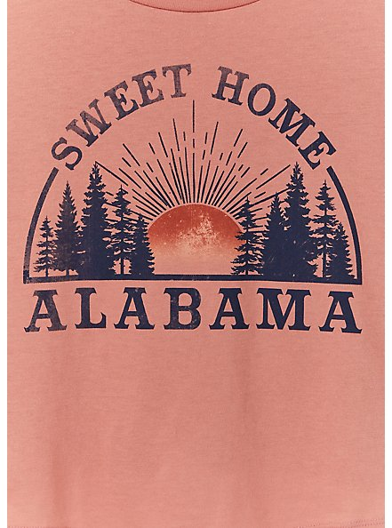 Sweet Home Alabama Coral Crop Crew Tee, , alternate