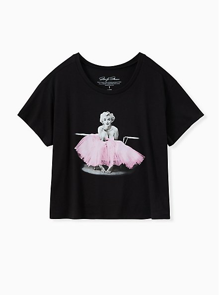 Marilyn Monroe Crop Tee - Black, DEEP BLACK, hi-res
