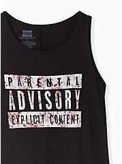 Parental Advisory Crew Tank - Floral & Black, DEEP BLACK, alternate