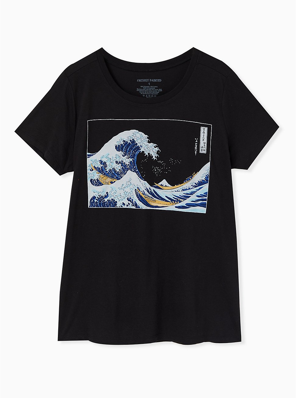 The Great Wave Black Crew Tee, DEEP BLACK, hi-res