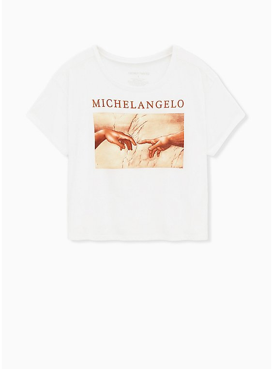 Plus Size Michaelangelo Crop Crew Tee - White, , hi-res