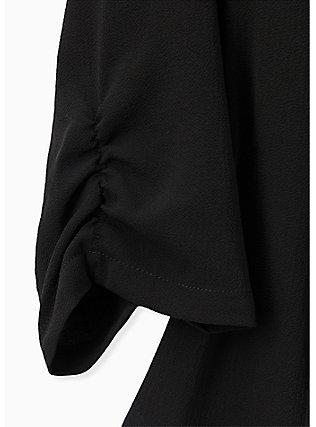 Black Open Front Crepe Blazer , DEEP BLACK, alternate