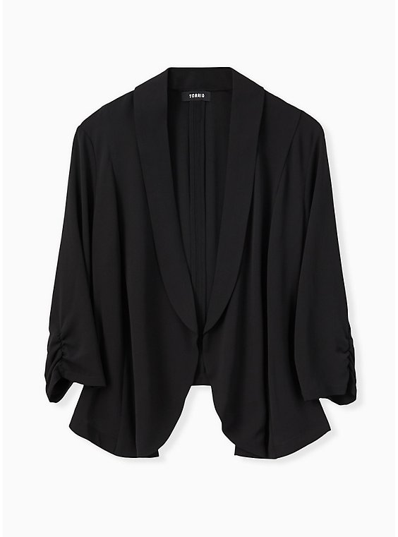 Plus Size Black Open Front Crepe Blazer , , hi-res