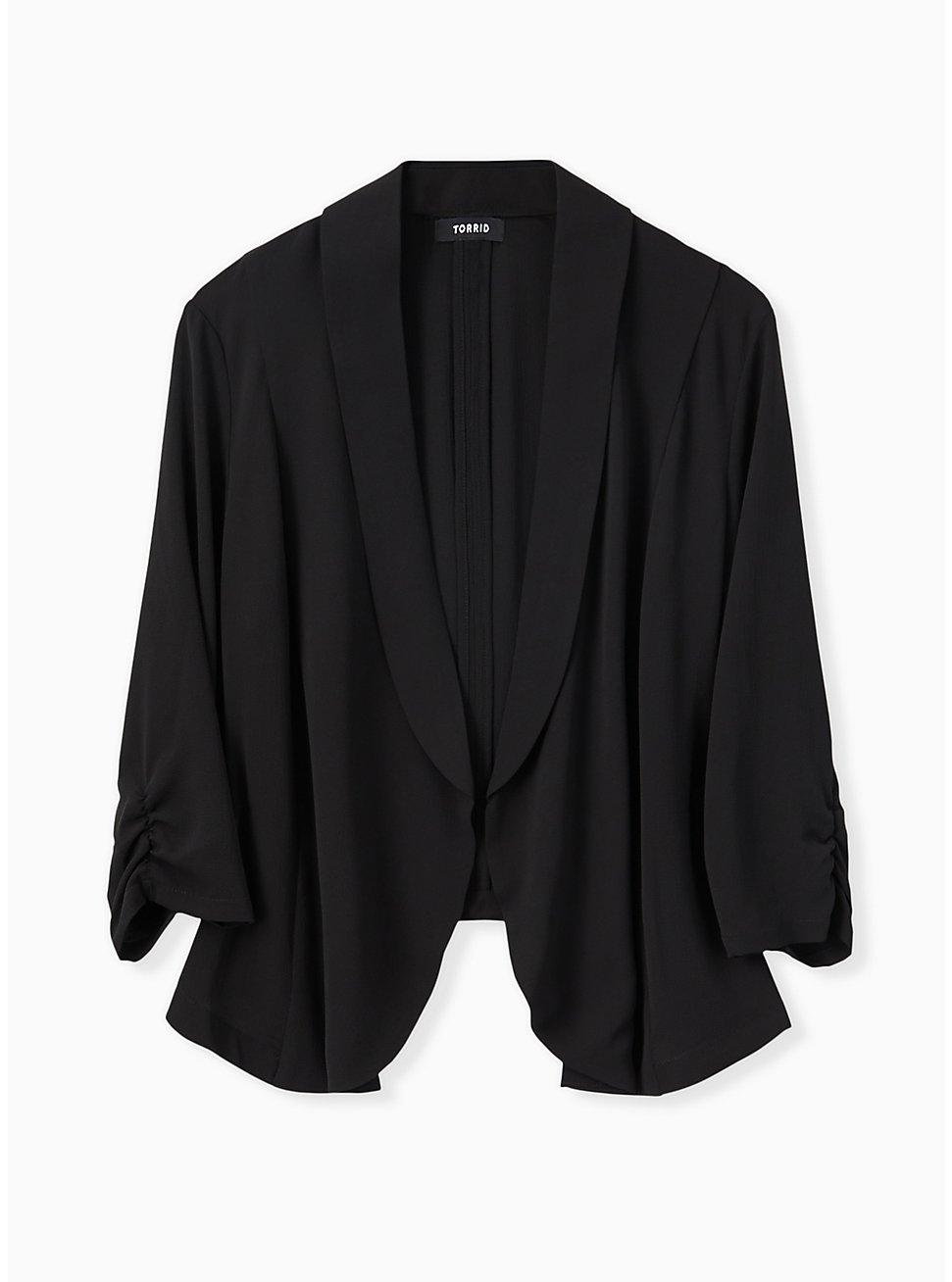Plus Size Black Open Front Crepe Blazer , DEEP BLACK, hi-res