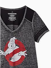 Ghost Busters Crop Football Tee - Burnout Charcoal Grey & Black, MEDIUM HEATHER GREY, alternate