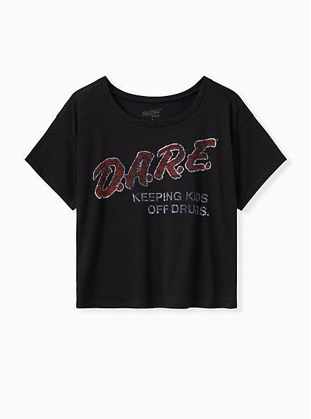 D.A.R.E. Keeping Kids Crop Tee - Black, DEEP BLACK, hi-res