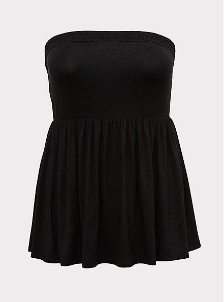 Super Soft Black Crochet Strapless Babydoll Top, DEEP BLACK, hi-res