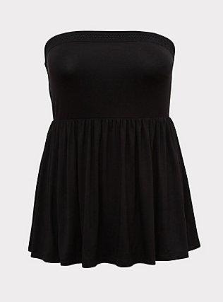 Plus Size Super Soft Black Crochet Strapless Babydoll Top, DEEP BLACK, flat