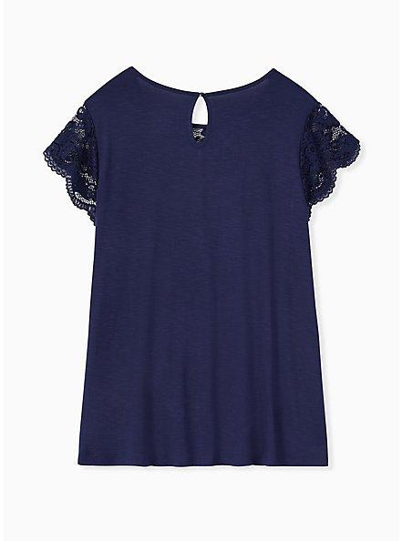Super Soft Navy Lace Sleeve Top, NAVY, alternate