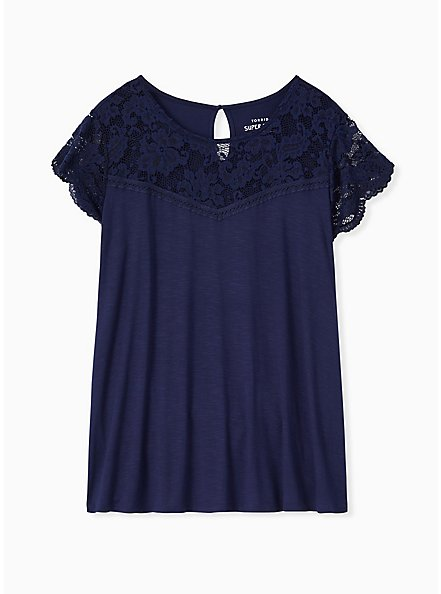 Super Soft Navy Lace Sleeve Top, NAVY, hi-res