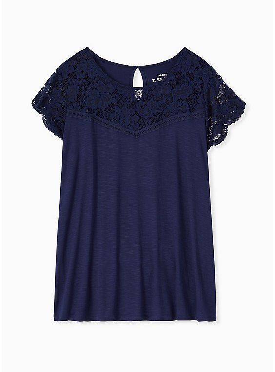 Plus Size Super Soft Navy Lace Sleeve Top, , hi-res