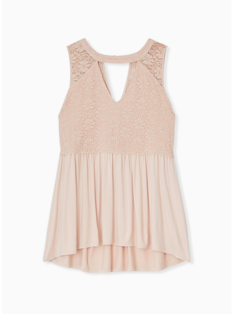 Super Soft & Lace Pale Pink Babydoll Choker Tank, , hi-res
