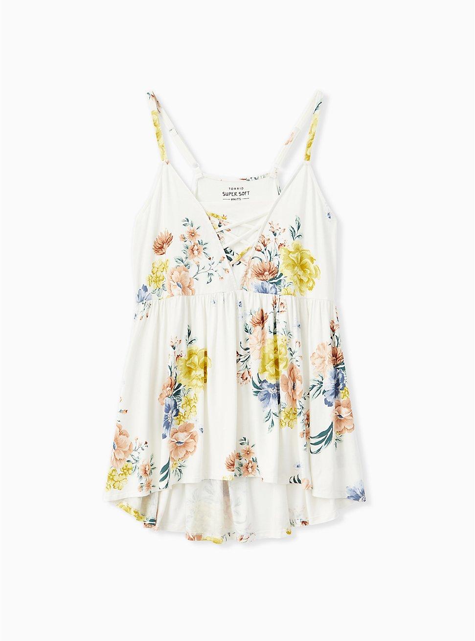 Super Soft White Floral Lattice Babydoll Came, CLOUD DANCER, hi-res