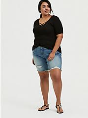 Black Rib Strappy V-Neck Tee, DEEP BLACK, alternate