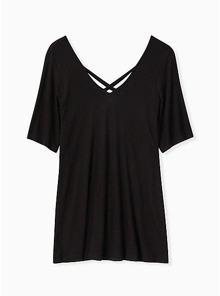 Plus Size Black Rib Strappy V-Neck Tee, DEEP BLACK, hi-res