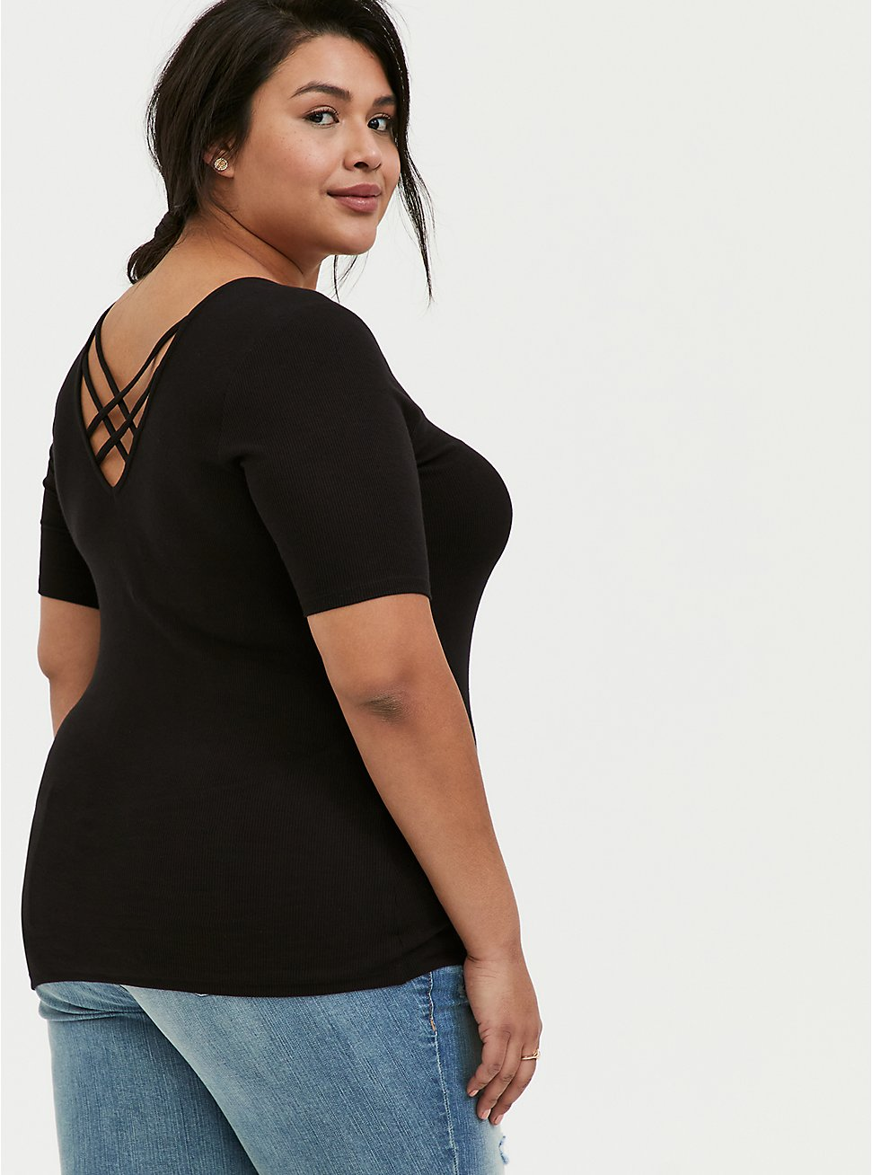 Black Rib Strappy V-Neck Tee, DEEP BLACK, hi-res