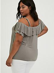 Super Soft Grey Ruffle Cold Shoulder Top, FROST GRAY, alternate