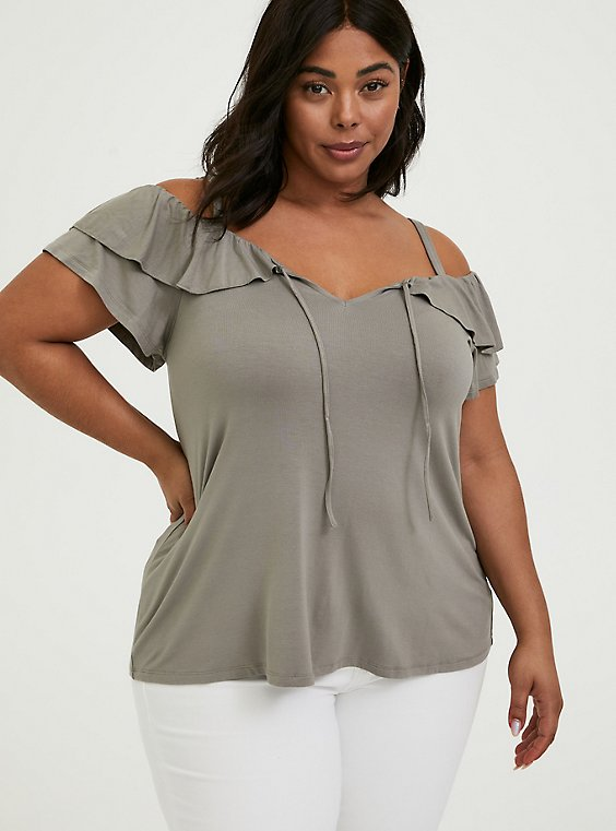 Super Soft Grey Ruffle Cold Shoulder Top, , hi-res