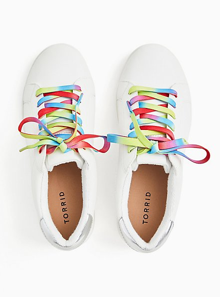 Plus Size White Faux Leather & Colorful Lace Sneaker (WW), WHITE, alternate