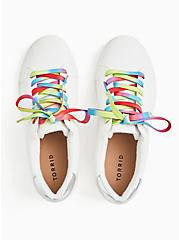 White Faux Leather & Colorful Lace Sneaker (WW), WHITE, alternate
