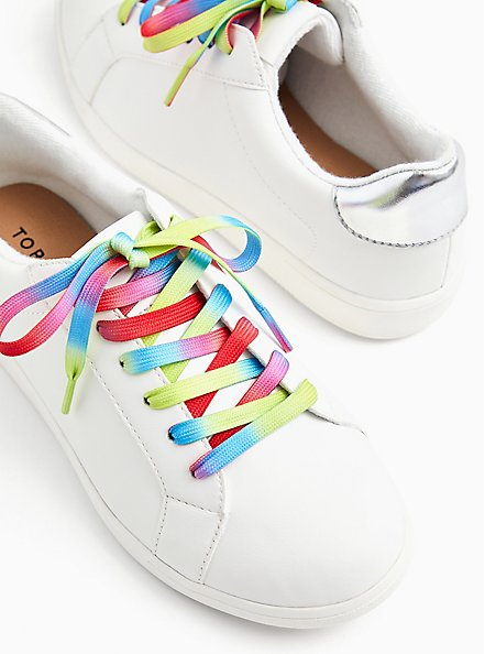 Plus Size White Faux Leather & Colorful Lace Sneaker (WW), WHITE, hi-res