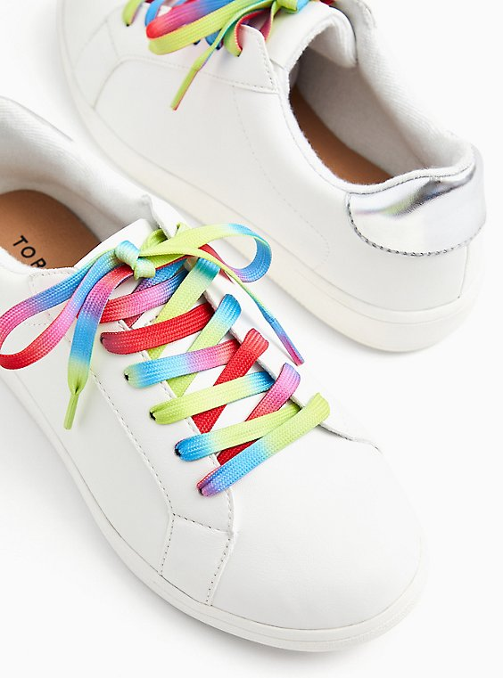 White Faux Leather & Colorful Lace Sneaker (WW), , hi-res