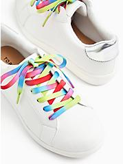 White Faux Leather & Colorful Lace Sneaker (WW), WHITE, hi-res