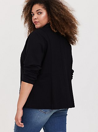 Plus Size Black Premium Ponte Classic Blazer, DEEP BLACK, alternate