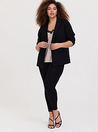 Plus Size Black Premium Ponte Classic Blazer, DEEP BLACK, alternate