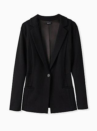 Black Premium Ponte Classic Blazer, DEEP BLACK, flat