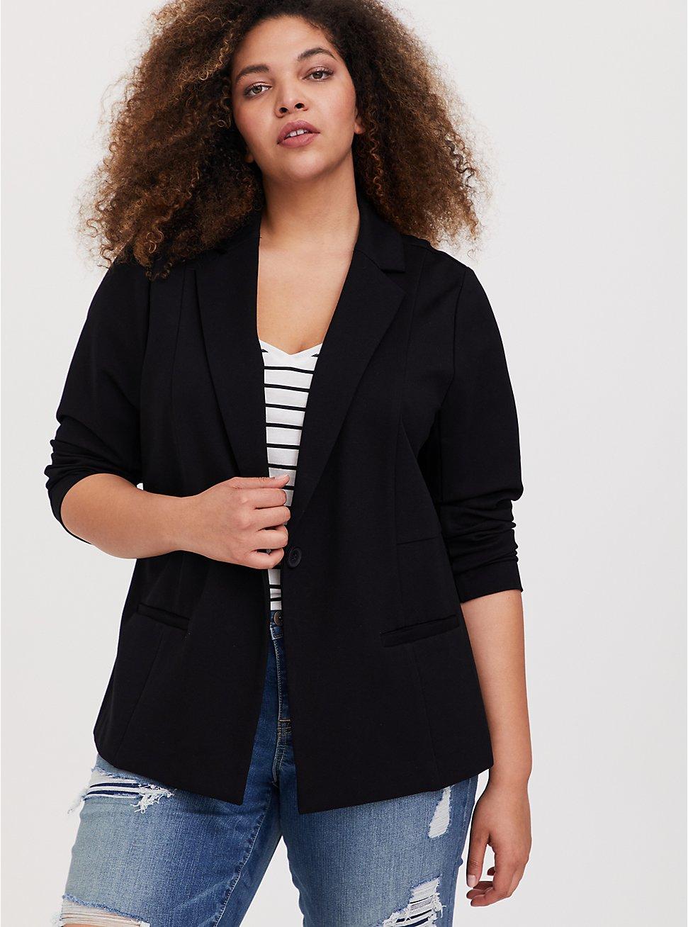 Plus Size Black Premium Ponte Classic Blazer, DEEP BLACK, hi-res