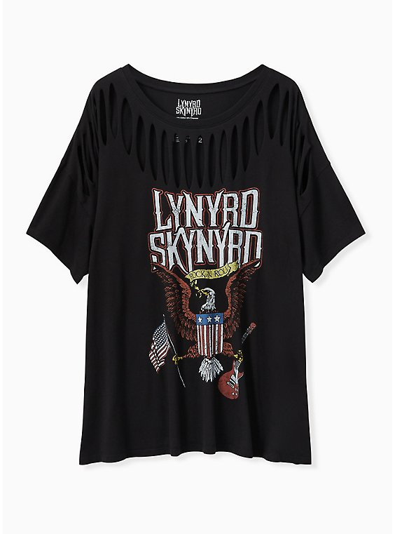 Lynyrd Skynyrd Black Slashed Tee, DEEP BLACK, hi-res