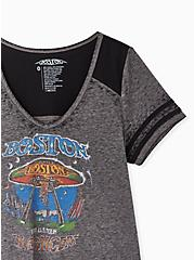 Boston Crop Football Tee - Burnout Charcoal Grey & Black, MEDIUM HEATHER GREY, alternate