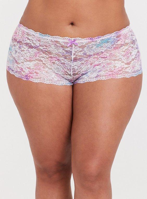 Pink & Purple Tie-Dye Lace Cheeky Panty, COLORFUL NICE DYE, hi-res