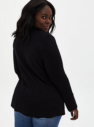 Plus Size Black Ponte Collarless Blazer, DEEP BLACK, alternate