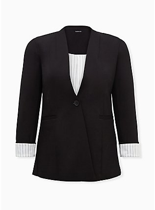 Plus Size Black Ponte Collarless Blazer, DEEP BLACK, flat